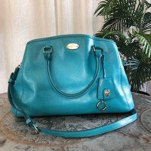 Coach Margot Textured Leather Blue Satchel F34607